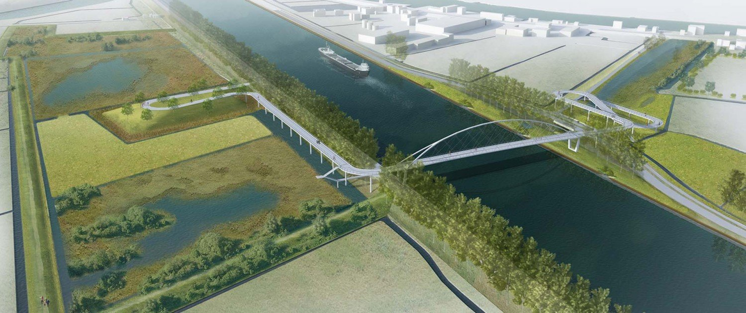 bird view of cycle bridge Nigtevecht, design by ipv Delft, slender modern birdge